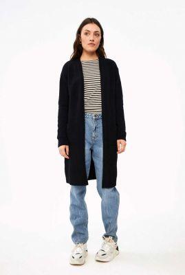 donker blauw lang vest van wolmix nisa cardigan solid