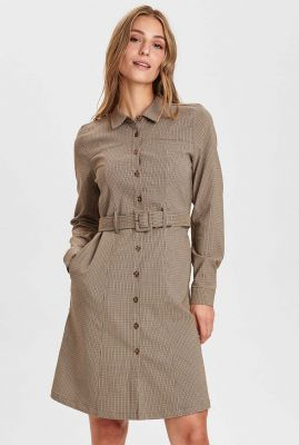 jurk met ceintuur en pied-de-poule dessin nuchase dress 700919