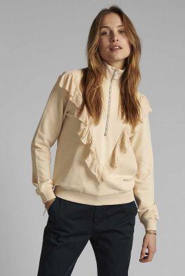 crèmekleurige sweater met rits en ruches nuclair sweatshirt 700395