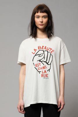wit t-shirt van biologisch katoen met opdruk tina dans la rue 131725