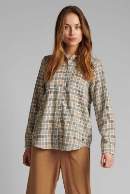 zachte beige blouse met ruit dessin nualma shirt 700513