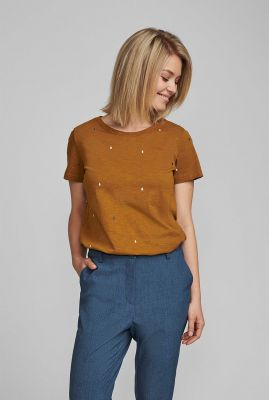 brons kleurig t-shirt met druppel dessin nubrinkley t-shirt 7420301