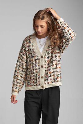 beige vest met gekleurd ruit dessin nubatel cardigan 7520209