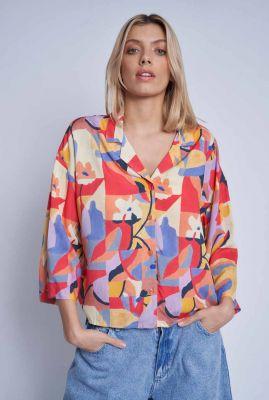 gekleurde blouse met grafische print mimosa nwbl122d