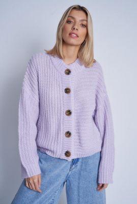 grof gebreid lila vest met relaxed fit aurelia cardigan nwto104c