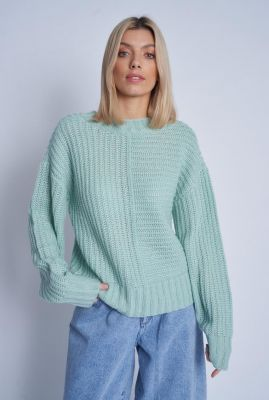 mint groene grof gebreide trui clove knit nwto7c
