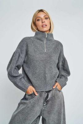 grof gebreide grijze trui met hoge hals kara knit nywkn140