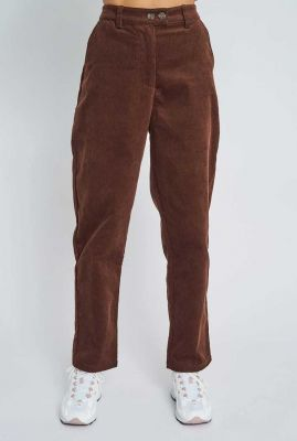 donker bruine rib broek met high waist addilyn pant nywtr221