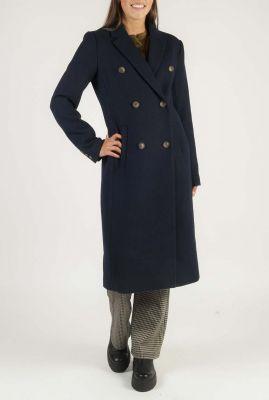 lange donkerblauwe wollen jas odelia long coat