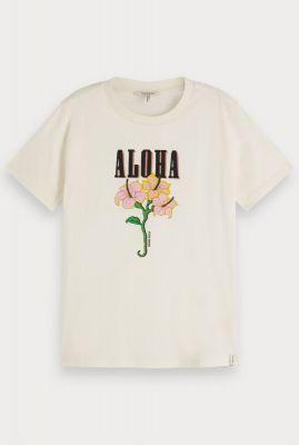 off-white katoenen t-shirt met hawaiiaanse opdruk 156214