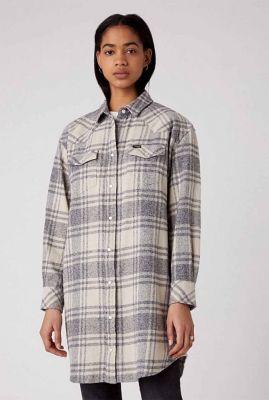 half lang geruite blouse overshirt dress W5Q92CW01