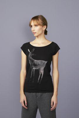 zwart t-shirt met hert opdruk en ronde hals deer 42151