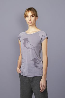 grijs t-shirt van tencel met vogel print raven hop 42160