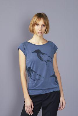 blauw grijs t-shirt van tencel met vogel print raven hop 42161