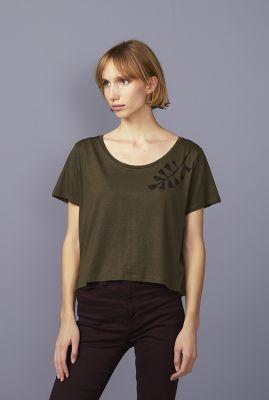 groen oversized t-shirt met cropped fit shoulder branch 42091
