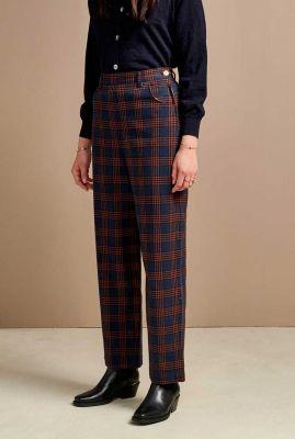 blauw geruite pantalon met hoge taille painted c0975