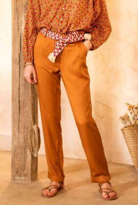 okergele pantalon met rechte pijpen en ceintuur aaron