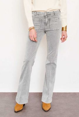 licht grijze flare jeans met steekzakken the diana vintage