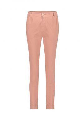 roze katoenmix chino broek met omslag s21w329