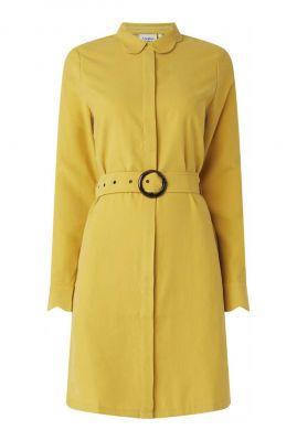 gele midi jurk met ceintuur peri dress