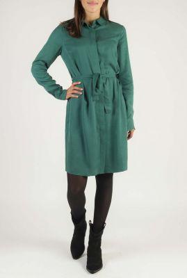 groene blouse jurk met ceintuur peri dress l/s