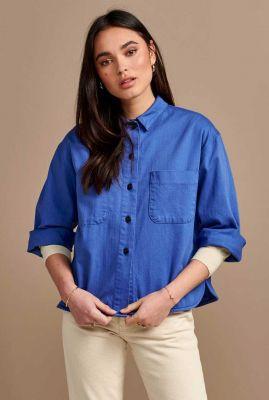 blauwe oversized blouse van katoen pilou02 p1136