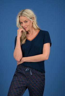 donkerblauwe top met glitterbies t-shirt nightblue sp6312