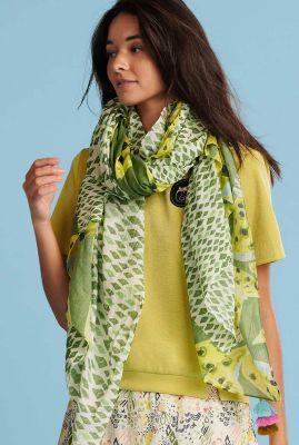 groene sjaal met bladeren print cheetah leaves lemon sp6438
