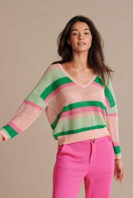 fijngebreide gestreepte trui met v-hals over the rainbow sp6525
