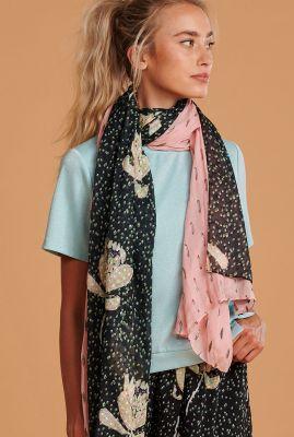 zwarte/roze dubbelzijdige sjaal artichoke kisses sprinkles sp6434