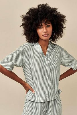 groen wit gestreepte blouse revers kraag poppy s0871
