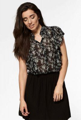 zwarte chiffon blouse met korte mouwen preppy s20.92.7480