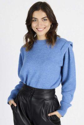 blauwe trui met schouder details van mohair wolmix callie 60064