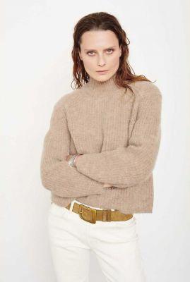 grof gebreide donker beige trui met opstaande kraag kandy