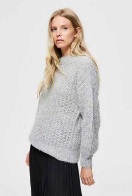 grijze oversized trui van alpaca en wol rabina knit o-neck 16076331