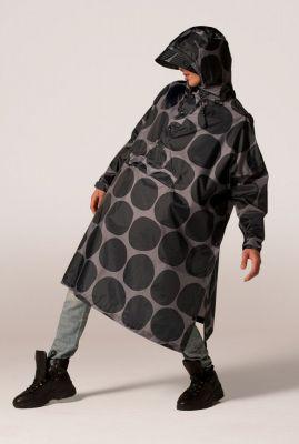 grijze regenponcho met stippen en capuchon polka poncho black polka
