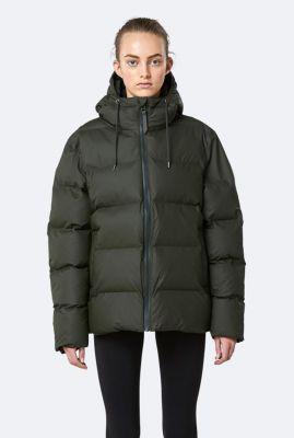 donkergroene waterafstotende jas met capuchon puffer jacket 1506