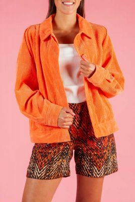 oranje rib fluwelen jack met knoopsluiting raleigh jacket
