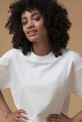 boxy wit t-shirt met hoge hals ravenelle t-shirt s/s