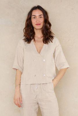 zand kleurige linnen blouse met knoopsluiting riza 1052312