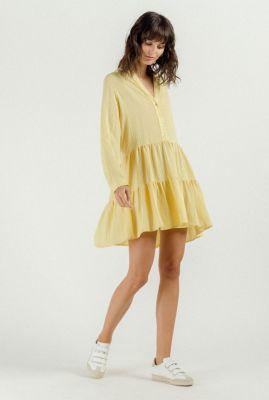 licht gele viscose a-lijn jurk met ruche details jodie 54088