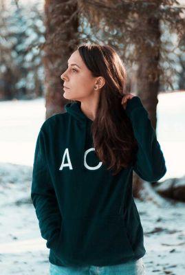 blauwe hoodie van bio katoen met tekst ACT robin 91457535
