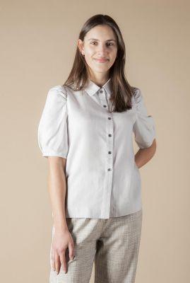 lichtgrijze blouse met korte pofmouw rosette