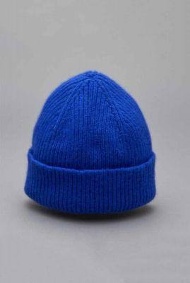 kobalt blauwe muts van lamswol mix royal beanie