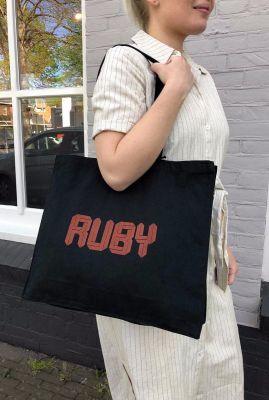 gekleurde shopper tas van katoen met logo opdruk ico