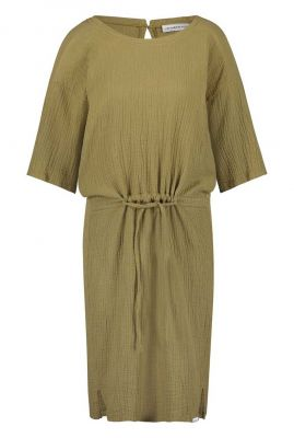 khaki jurk met tunnelkoord s20t392