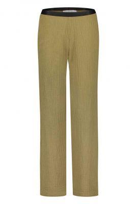 khaki broek met elastische band s20t393