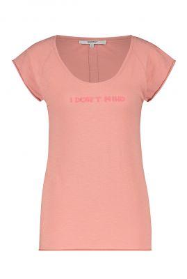 roze t-shirt met ronde hals en opdruk s21f877
