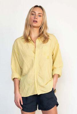 gele oversized blouse met streep dessin s21w325