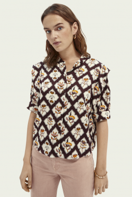 bordeaux rode blouse met korte mouwen en grafische print 162468